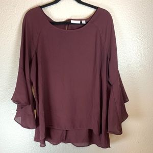New York and Company Maroon Bell Sleeve Blouse